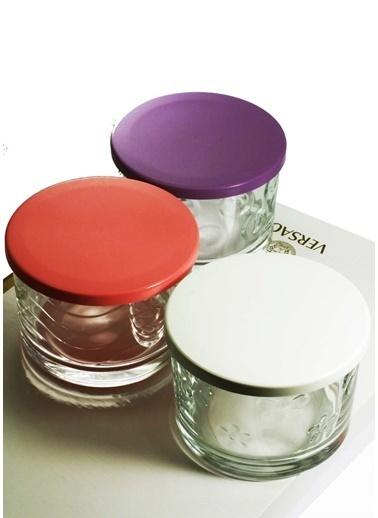 Kitchen Love 3Adet-6Cm 3Renk Renkli Kapaklı Cam Saklama Kabı-Renkli Renkli